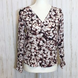 Ann Taylor Maroon & White Ruffle Front Blouse